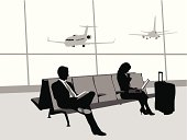 Traveling By Airplane Vector Silhouette
