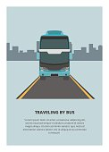 Simple illustration of traveling by double decker bus.