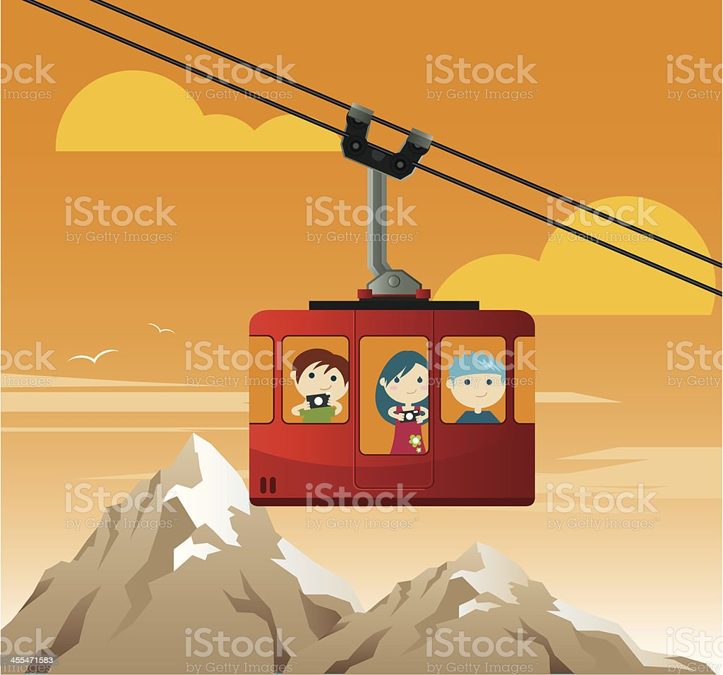 Traveling by Cable Car vector art illustration