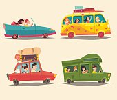 Traveling by car, Ð¡abriolet, Van and Trailer with happy people. Summer vacation, tourism, family trip. Cartoon character family, cartoon hippie. Camping trailer. Isolated colorful illustration, isolated, vector set