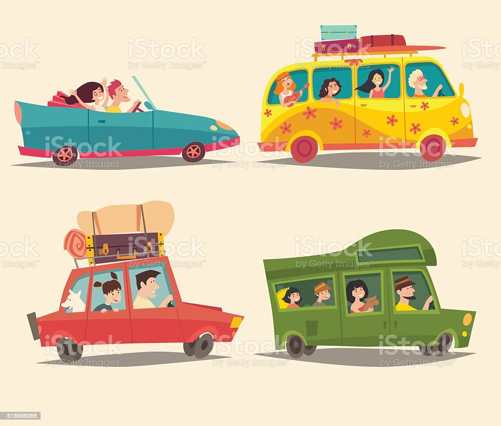 Traveling by car, Ð¡abriolet, Van and Trailer with happy people - Illustration vectorielle
