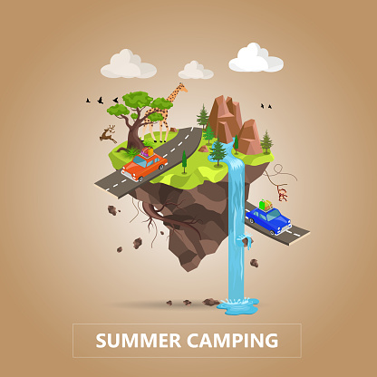 Traveling by car and Tourism Concept. Natural Animal Landscape With Holiday Camp In Forest. Vector Isometric 3D Illustration.