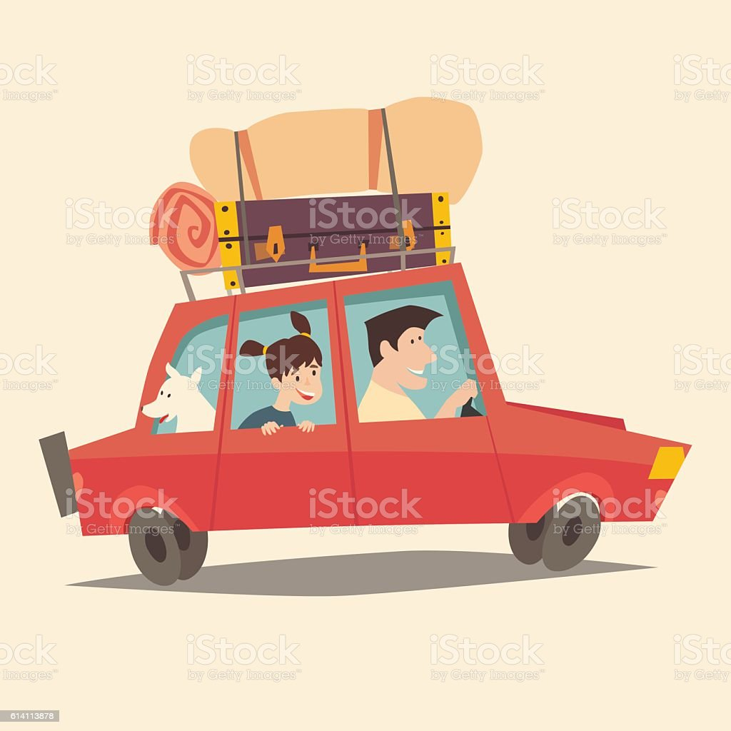 Traveling by car. Father driving car. Happy family summer vacations - Illustration vectorielle