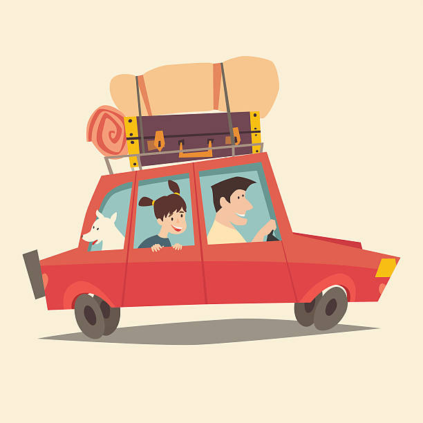 ilustraciones, imágenes clip art, dibujos animados e iconos de stock de traveling by car. father driving car. happy family summer vacations - viajes familiares