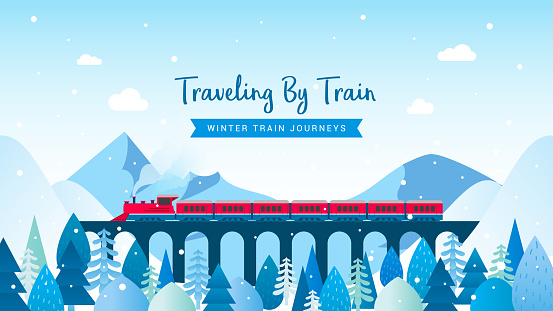 Traveling By Train - winter train journeys vector illustration. Red train in winter mountain landscape.