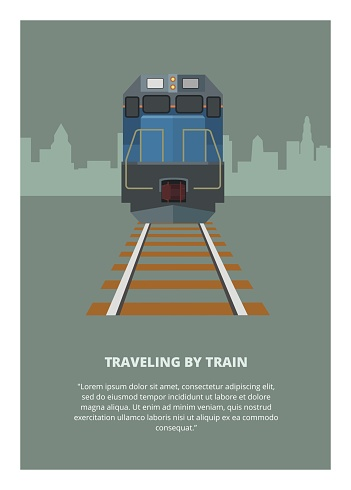 simple illustration of traveling by train, with city building silhouette background
