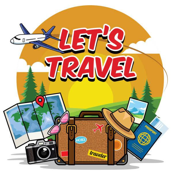 traveling cartoon set - travel agent stock illustrations, clip art, cartoons, & icons