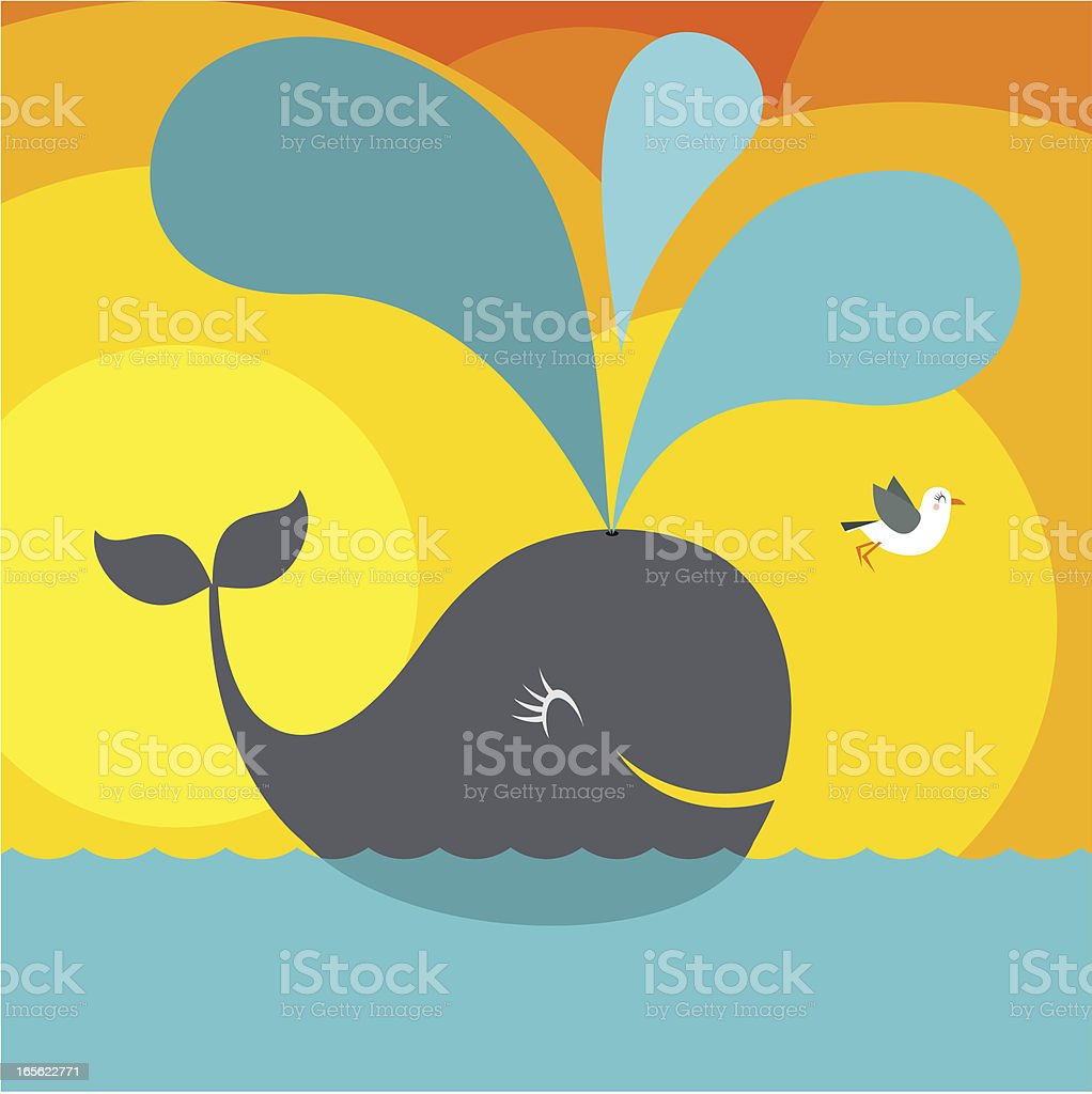 Traveling cartoon whale joyfully spouts with seagull friend royalty-free stock vector art