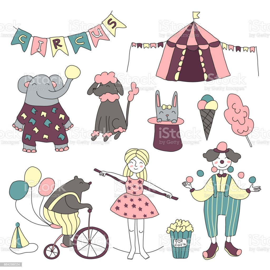 Traveling chapiteau circus. Vector illustration, set of circus performers, trained animals and circus props. royalty-free traveling chapiteau circus vector illustration set of circus performers trained animals and circus props stock vector art & more images of acrobat