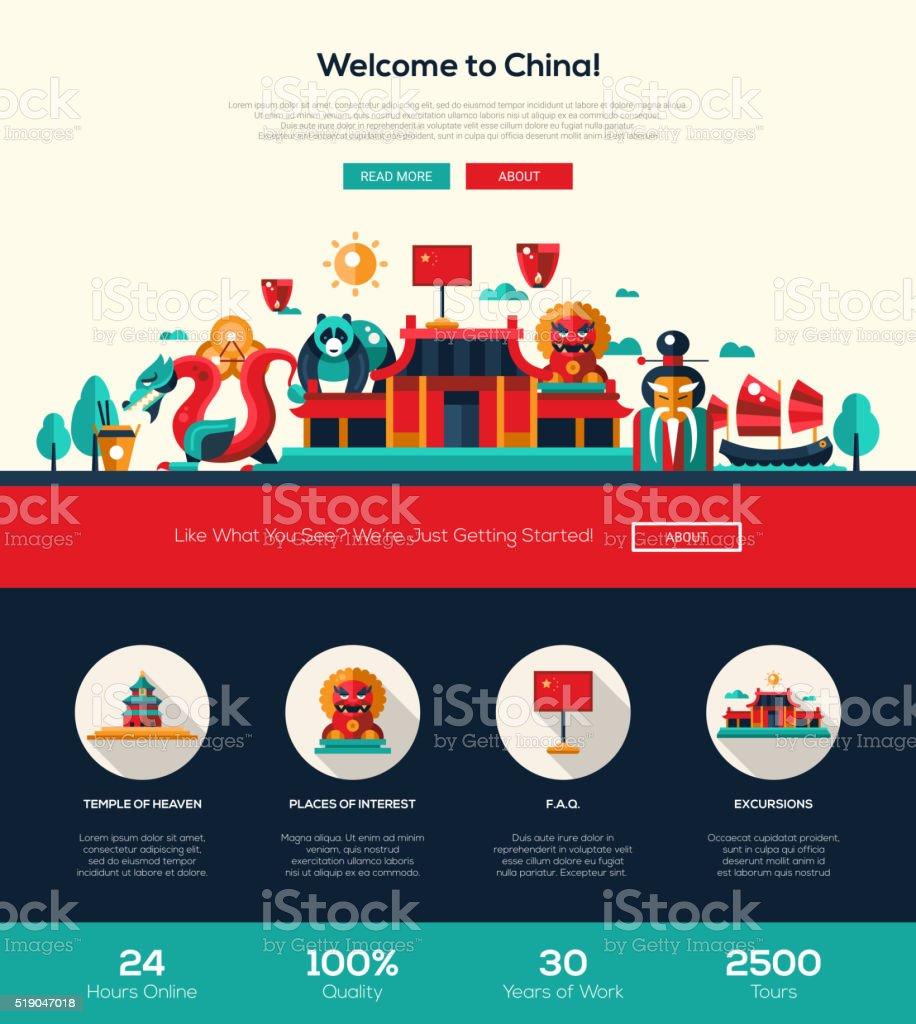 Traveling China website header banner with webdesign elements vector art illustration