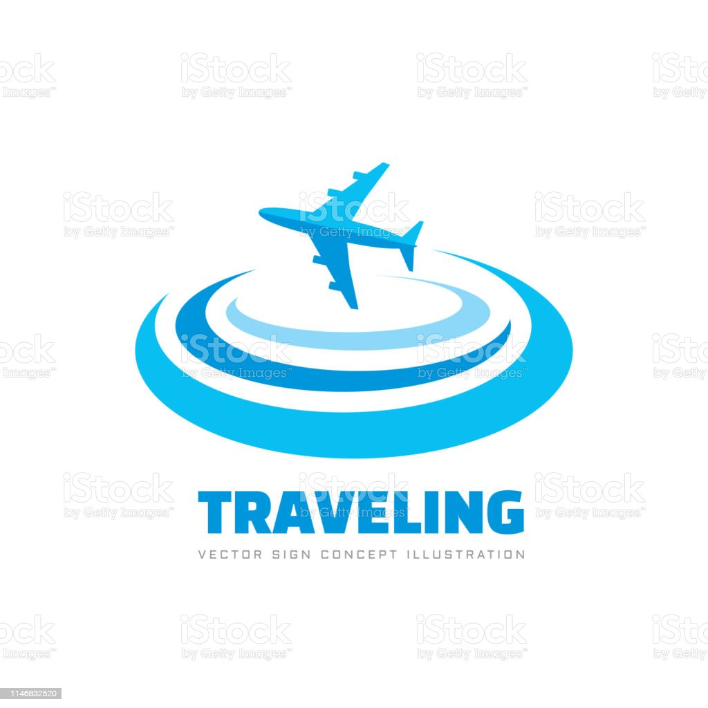 Traveling - concept business sign vector illustration. Airplane...