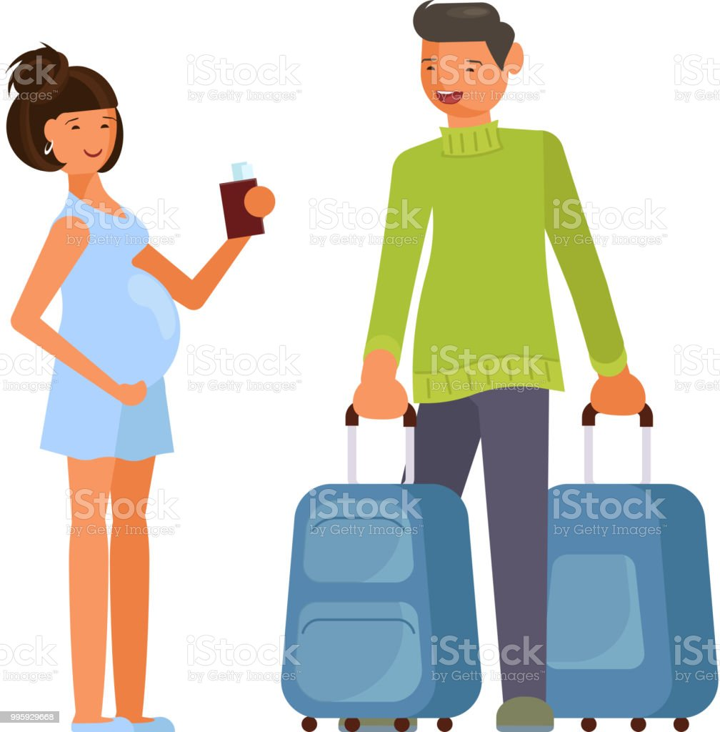 Traveling couple of young people vector art illustration
