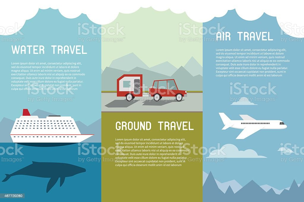 Traveling Elements and Concept Water Ground Air. vector art illustration