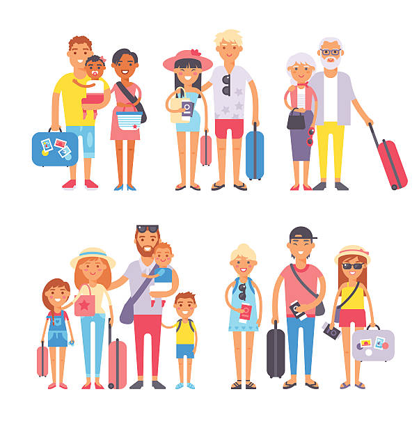 traveling family group people on vacation together character flat vector - family trips stock illustrations