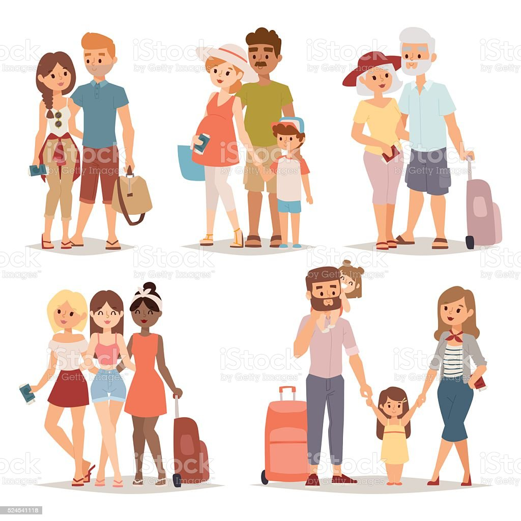 Grupo de personas que viajan en familia de vacaciones juntos carácter plano Vector de - ilustración de arte vectorial
