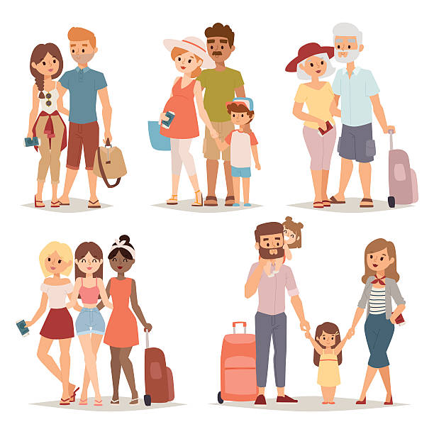 traveling family group people on vacation together character flat vector - happy family stock illustrations