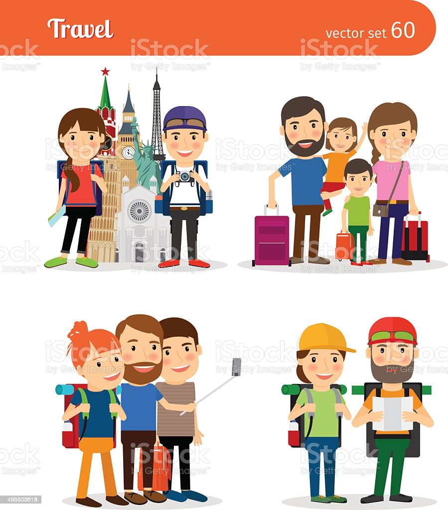 Traveling family people vector art illustration