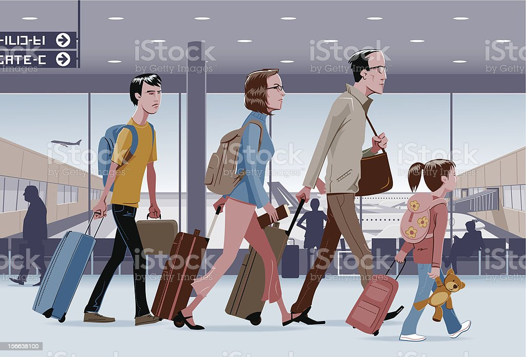 Traveling Family royalty-free traveling family stock vector art & more images of airplane