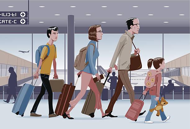 ilustraciones, imágenes clip art, dibujos animados e iconos de stock de viaje de la familia - viajes familiares