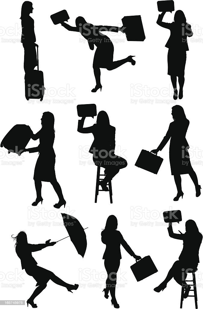 Traveling happy businesswoman royalty-free stock vector art