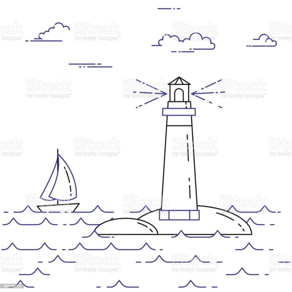 traveling horizontal banner with sailboat on waves and lighthouse rh istockphoto com Lighthouse Outline Lighthouse Outline