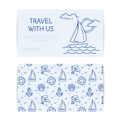 Traveling horizontal banner with sailboat on waves. Seamless pattern with sea rest accessories for trip, tourism, travel agency, hotels business card.