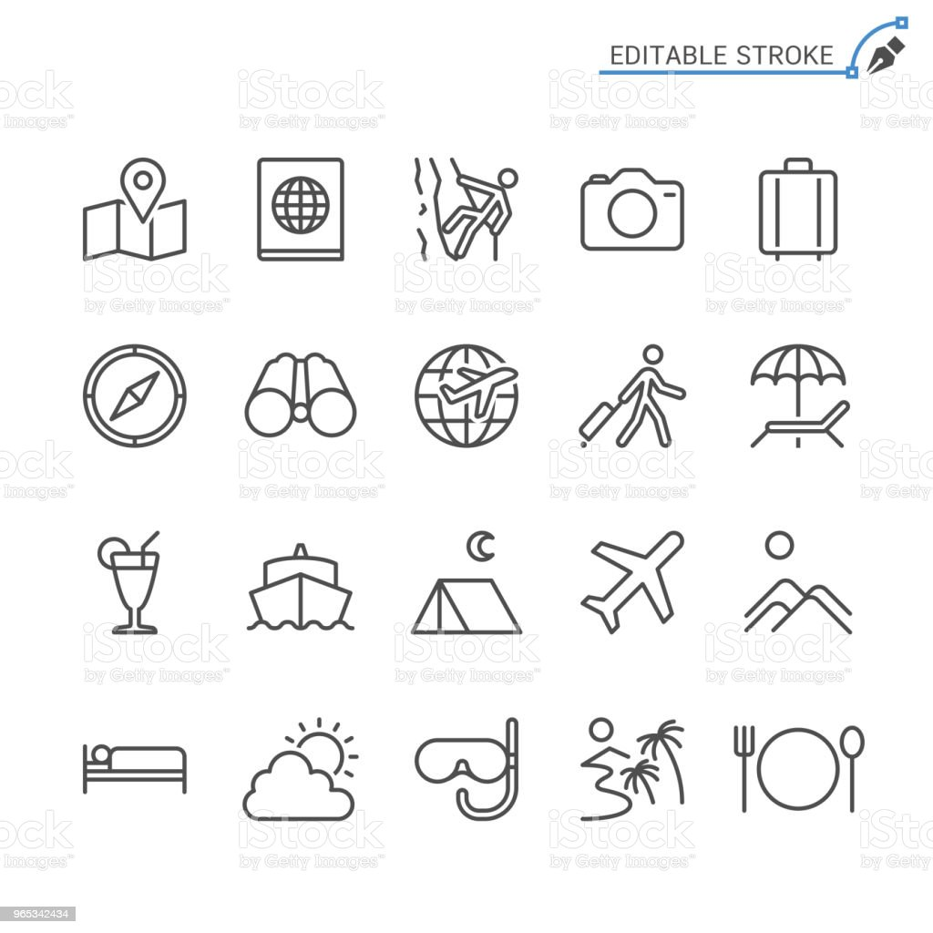 Traveling line icons. Editable stroke. Pixel perfect. royalty-free traveling line icons editable stroke pixel perfect stock vector art & more images of airplane