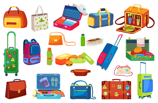 Traveling luggage icons isolated vector illustrations set. Suitcase for trip, open travel bag, journey baggage and tourists items.