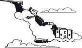 Traveling man on a cloud, Retro Vector Illustration