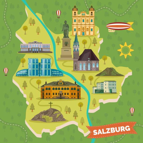 bildbanksillustrationer, clip art samt tecknat material och ikoner med resor karta med sevärdheter i salzburg. - salzburg
