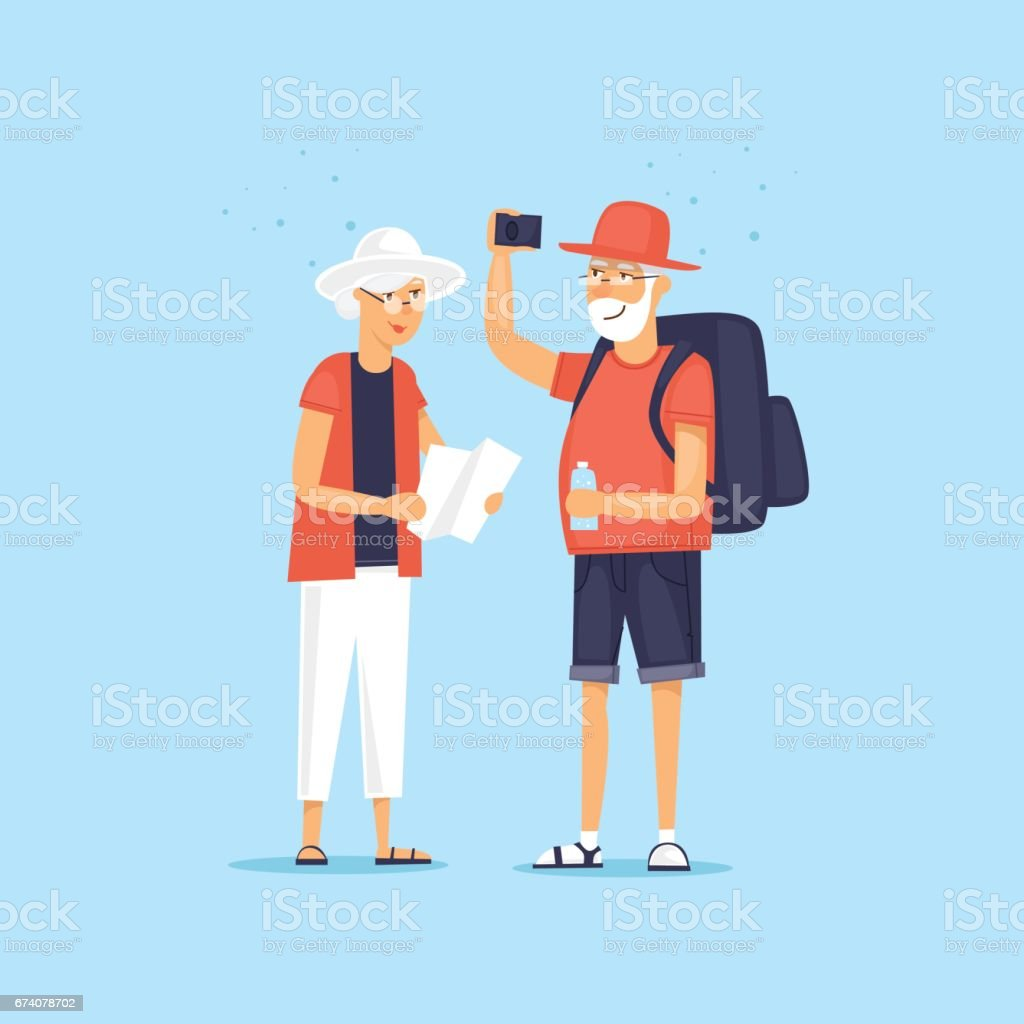 Traveling old people. Selfie. Character design. World Travel. Planning summer vacations. Flat design vector illustration. traveling old people selfie character design world travel planning summer vacations flat design vector illustration - arte vetorial de stock e mais imagens de adulto royalty-free