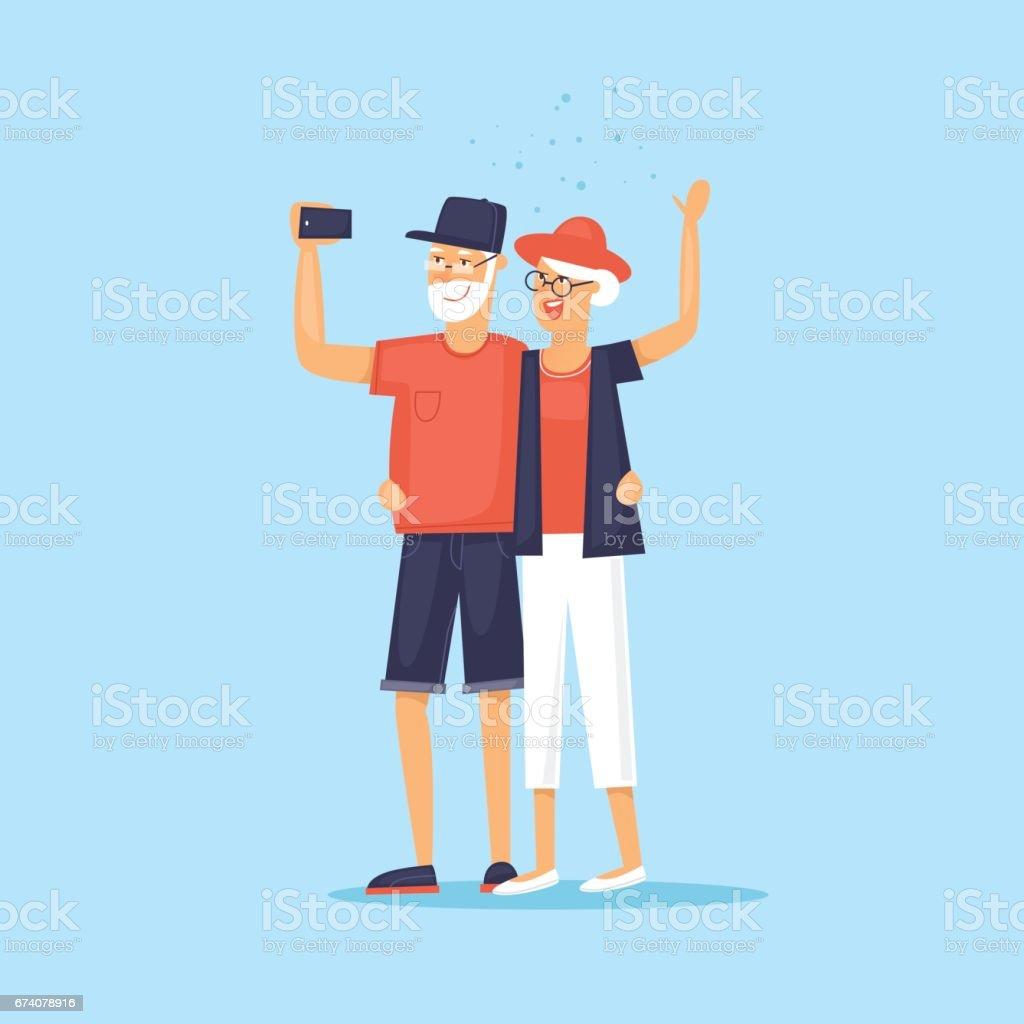 Viajando com pessoas idosas. Selfie. Design de personagens. Viajar pelo mundo. Planejando as férias de verão. Ilustração em vetor design plano. - ilustração de arte em vetor