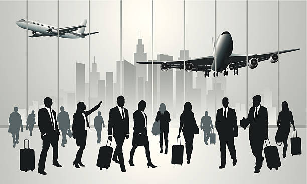 Traveling people Business travelers in the airport terminal. Vector illustration airport silhouettes stock illustrations