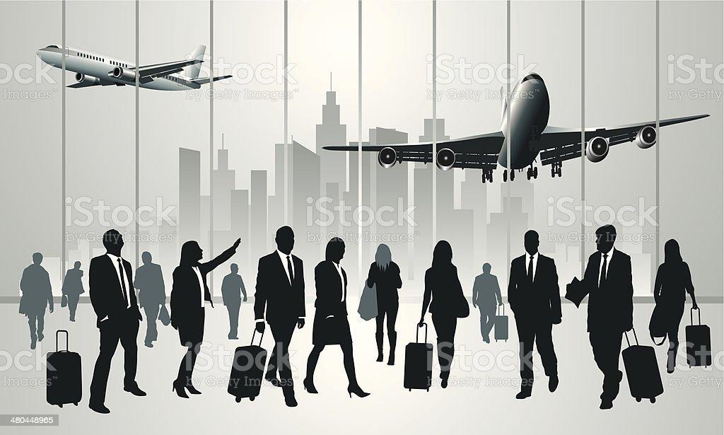 Traveling people vector art illustration