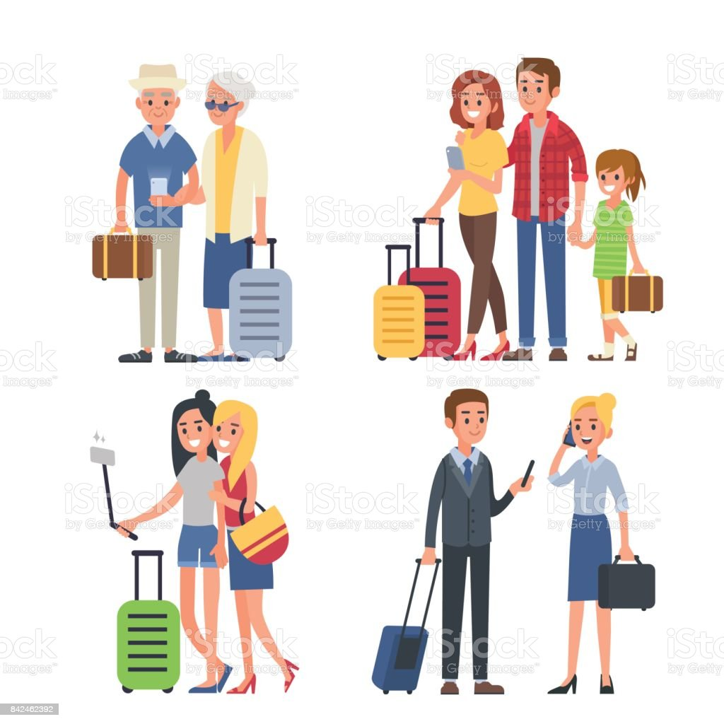 Viaja de personas - ilustración de arte vectorial