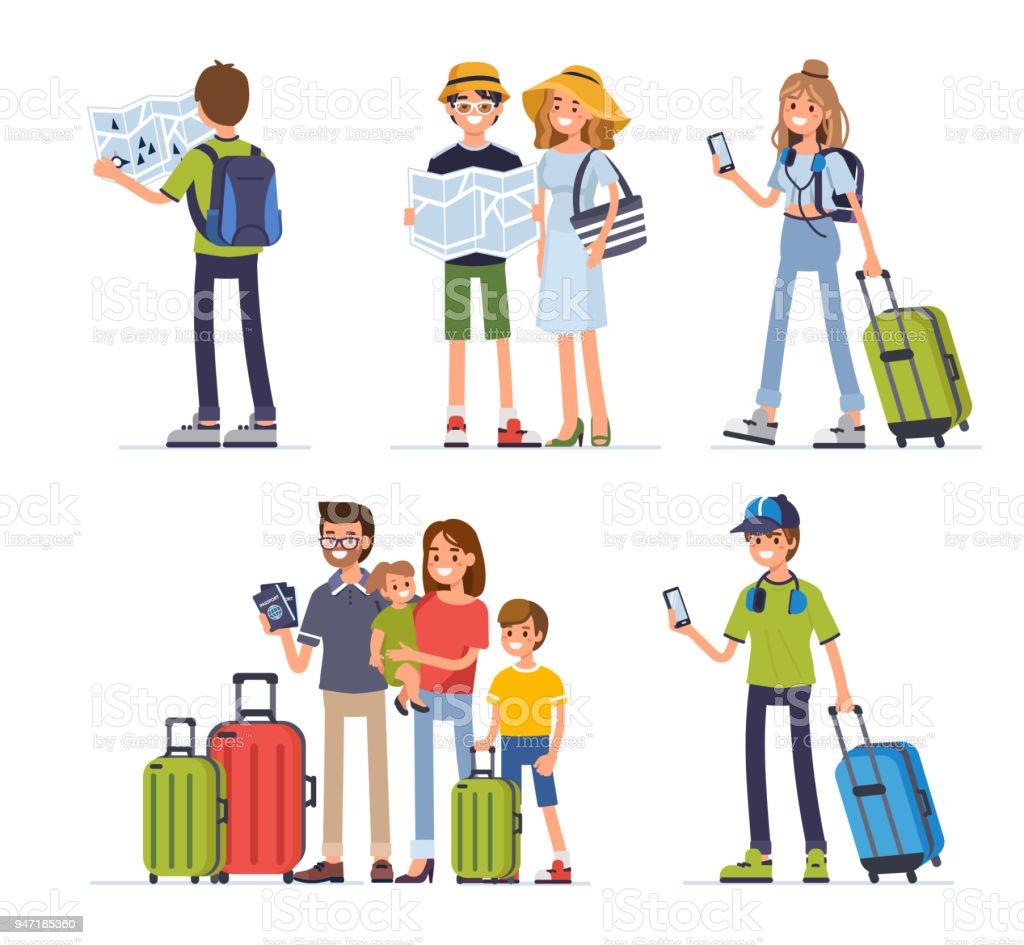 Viajando pessoas - ilustração de arte em vetor