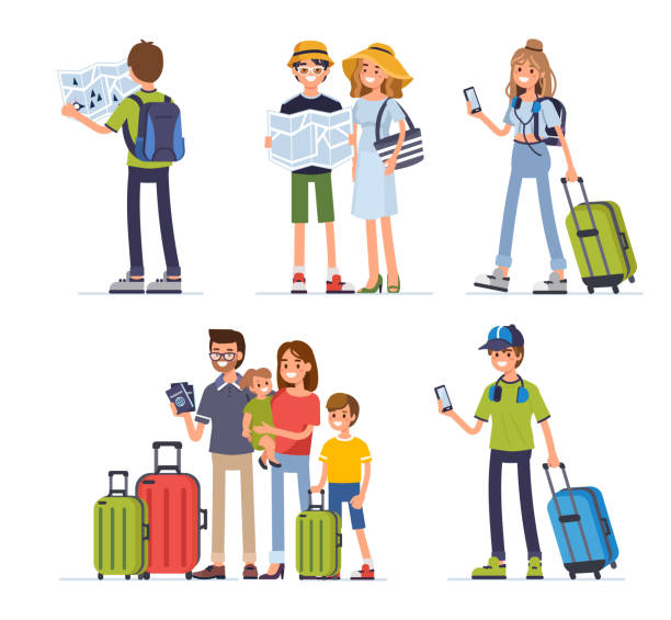 traveling people - family trips stock illustrations