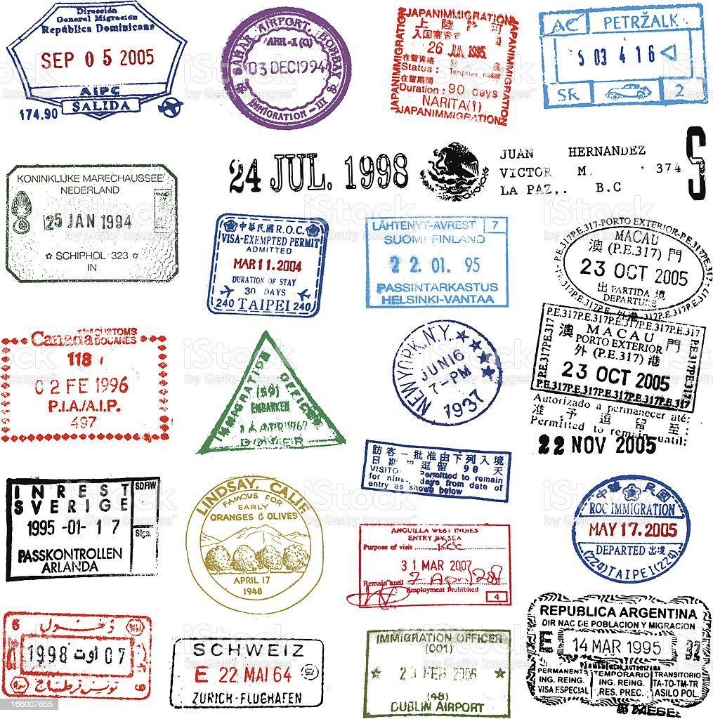 Traveling Stamps royalty-free stock vector art