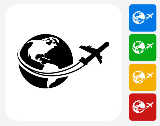 Traveling the World Icon Flat Graphic Design Traveling the World Icon. This 100% royalty free vector illustration features the main icon pictured in black inside a white square. The alternative color options in blue, green, yellow and red are on the right of the icon and are arranged in a vertical column. aviation and environment summit stock illustrations