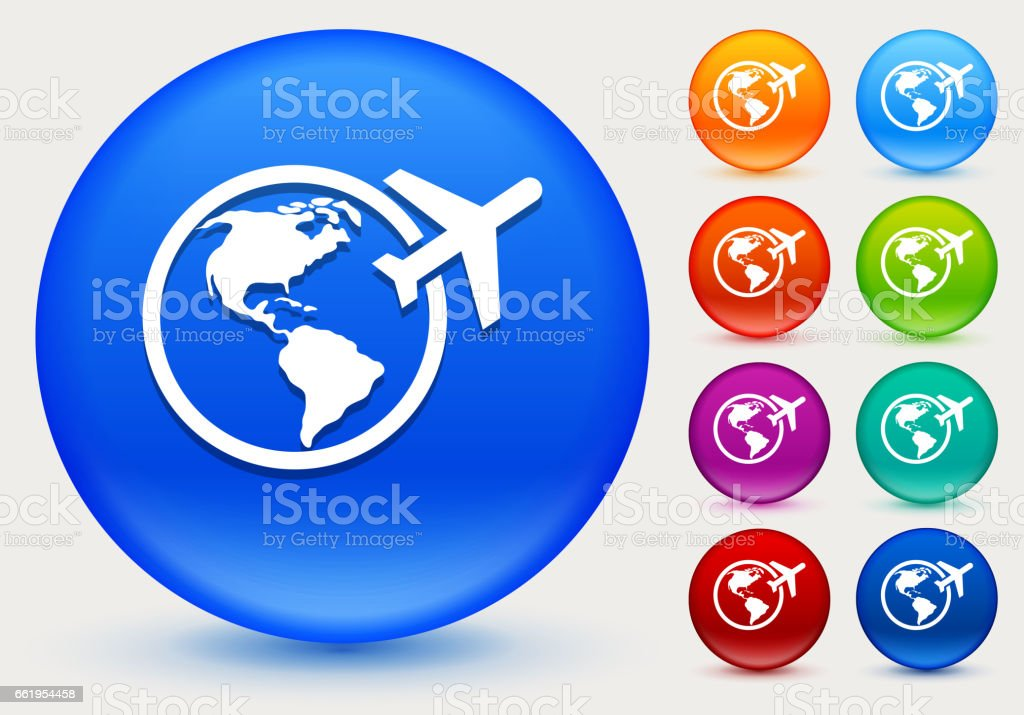 Traveling the World Icon on Shiny Color Circle Buttons royalty-free traveling the world icon on shiny color circle buttons stock vector art & more images of airplane