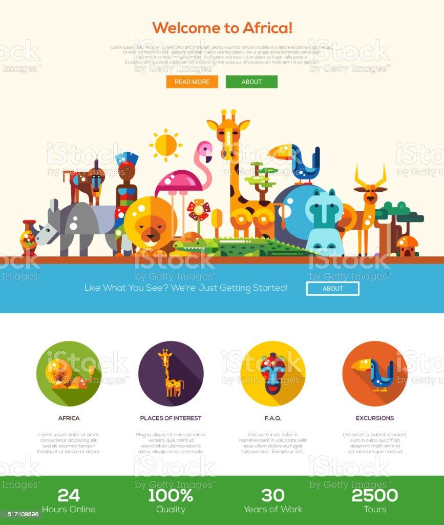 アフリカを旅のウェブサイトのヘッダーバナー、webdesign 要素 ベクターアートイラスト