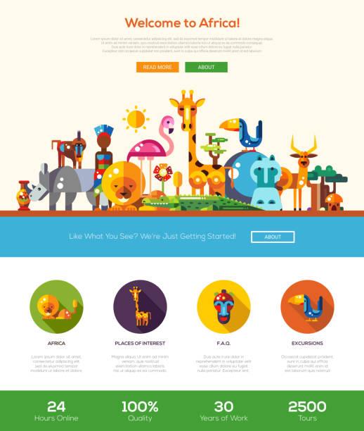 reise nach afrika website-header und banner mit webdesign-elemente - wildtier reise stock-grafiken, -clipart, -cartoons und -symbole