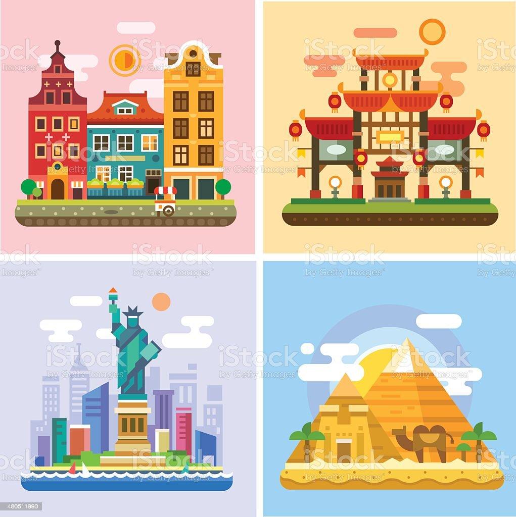 Traveling to capitals of various countries. Parts of the world - Royaltyfri 2015 vektorgrafik