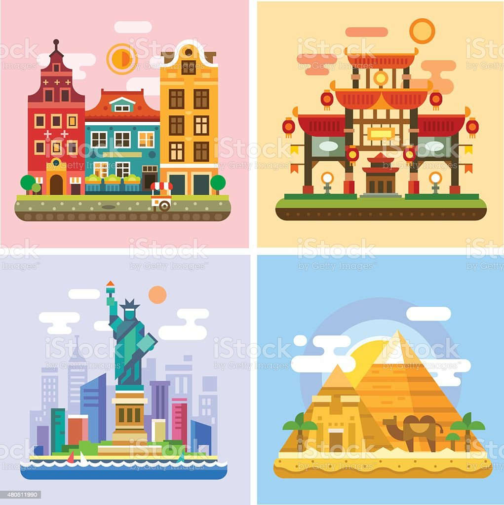 Traveling to capitals of various countries. Parts of the world vector art illustration