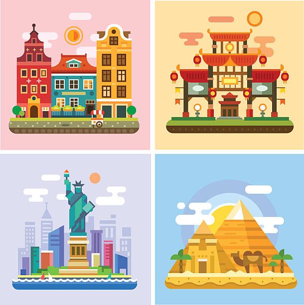 bildbanksillustrationer, clip art samt tecknat material och ikoner med traveling to capitals of various countries. parts of the world - walking home sunset street