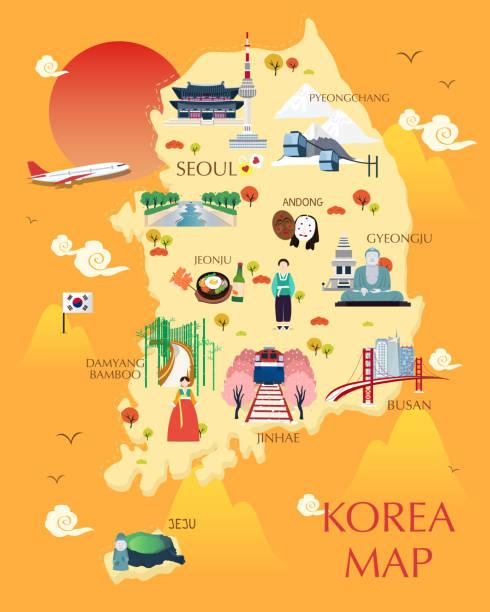 stockillustraties, clipart, cartoons en iconen met reizen naar korea door landmrks pictogram kaart illustratie - zuid korea