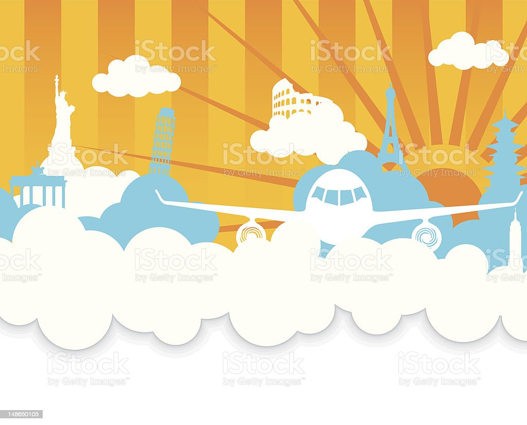 Traveling (copy-space) - Vector Illustration with Plane and Landmarks royalty-free stock vector art