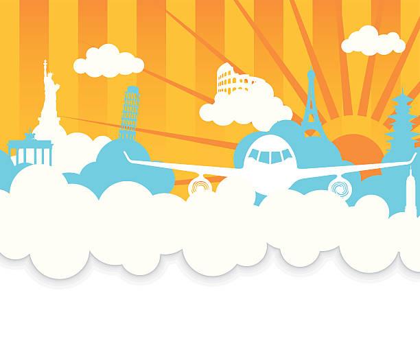ilustrações, clipart, desenhos animados e ícones de viajando (cópia-espaço)-ilustração vetorial com avião e marcos - viagem de primeira classe