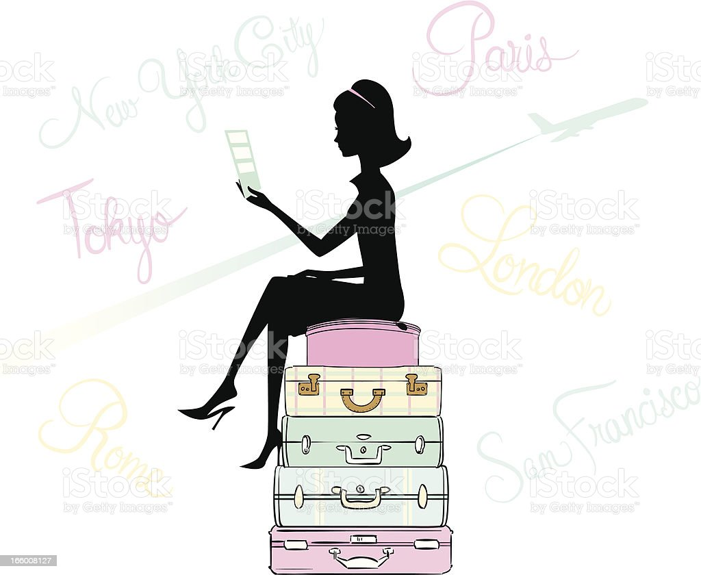 Traveling Woman royalty-free stock vector art