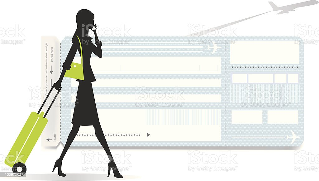 Traveling Woman with Boarding Pass royalty-free stock vector art